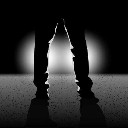 road rage: illustration of male silhouette legs standing in front of lights in the darkness