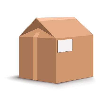 unpacking: illustration of carton house with shadow on white background Illustration