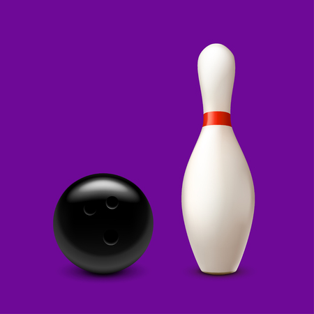 illustration of bowling bal and pin with shadows on violet background