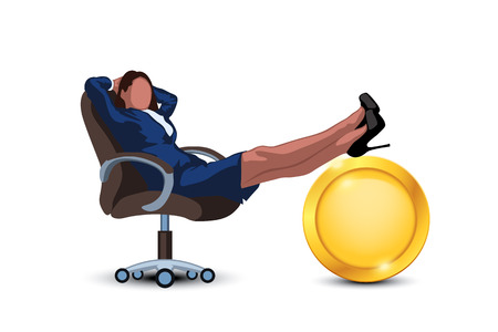 illustration of relaxing woman in chair with golden coin