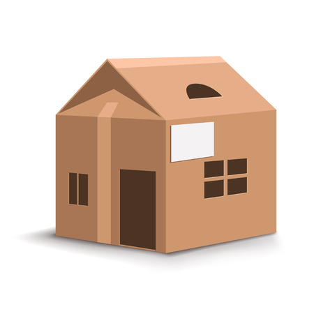 unpacking: illustration of catton house woth wondows and door on white background Illustration