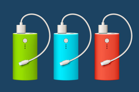 illustration of three different color powerbank and micro usb cable