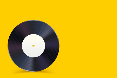 illustration of vinyl record with shadow on yellow background
