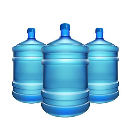 illustration of three water bottles for cooler on white