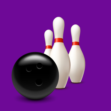 illustration of three bowling pins with ball on violet  with shadows Illustration