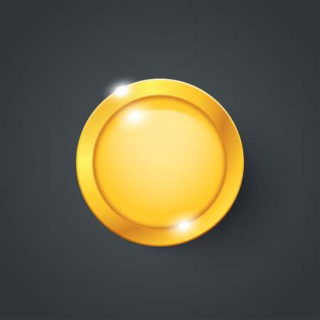 illustration of gold coin with reflection on dark.