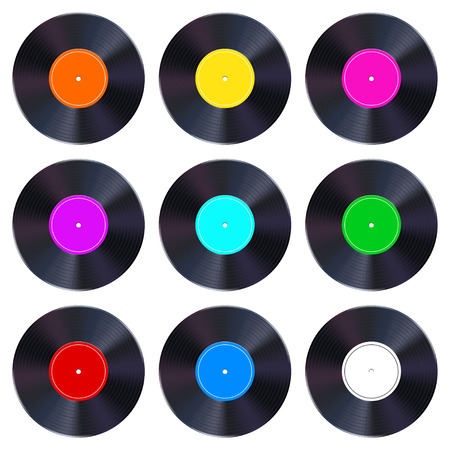 illustration of shiny set different color vinyl records isolated. Illustration