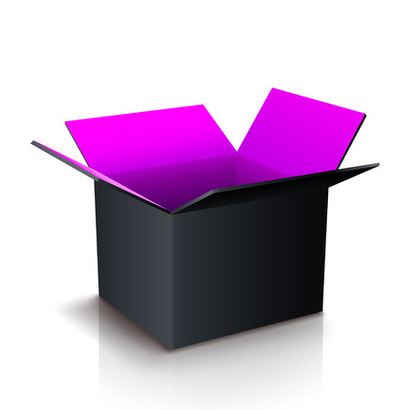 illustration of open paper box two colored with shadow on white background