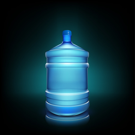 illustration of shiny big water bottle on dark background