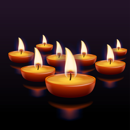 few: illustration of few lighting candles with reflections on dark background Illustration