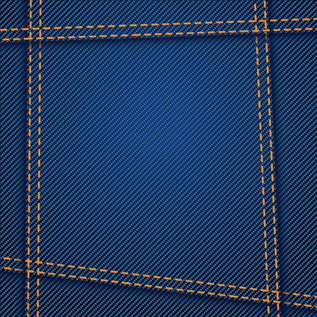 seams: illustration of blue color jeans texture with seams Illustration