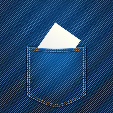 jeans pocket: illustration of white paper in blue jeans pocket