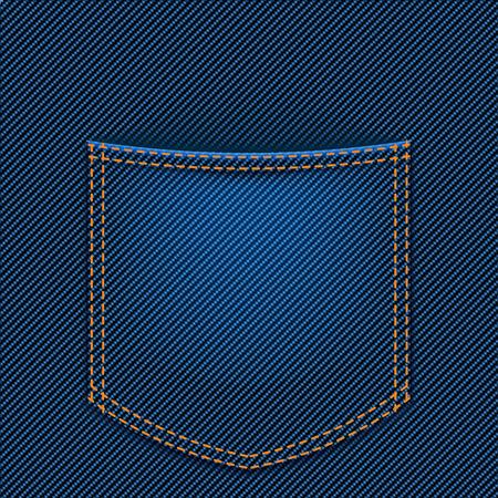jeans pocket: illustration of back jeans pocket blue color with shadow