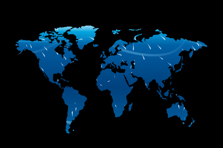 americas: illustration of world map on dark background wit hlights