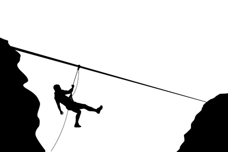 moving down: illustration of male rock climber silhouette moving down on rope Illustration
