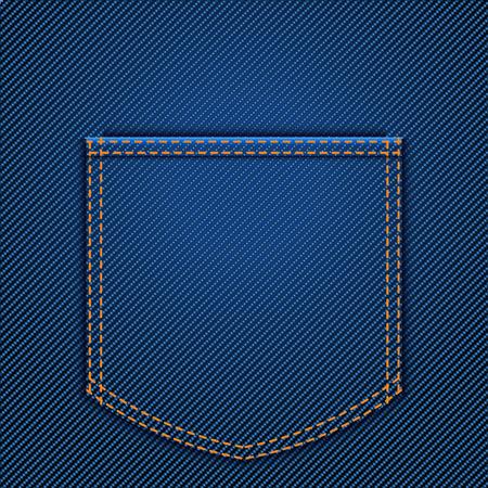 jeans pocket: illustraion of back jeans pocket  blue color Illustration