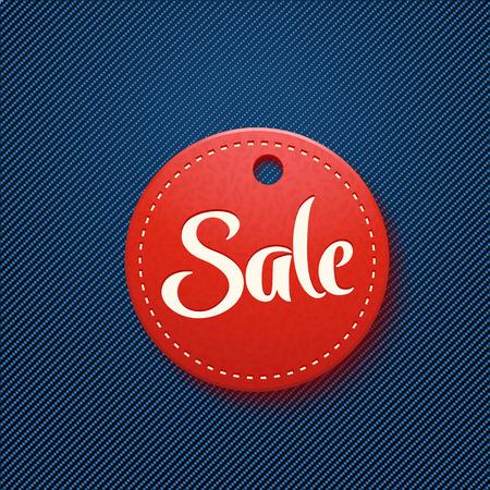 jeans pocket: illustration of red sale label in blue jeans pocket