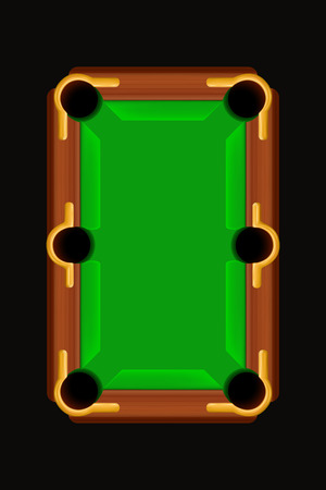 illustration of wooden billiard table on dark background Illustration