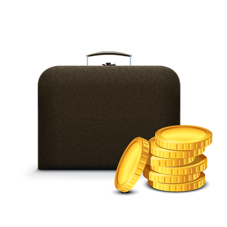 illustration of balck color briefcase with golden coins on white background Illustration