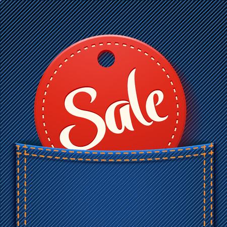 illustration of red sale label in jeans pocket