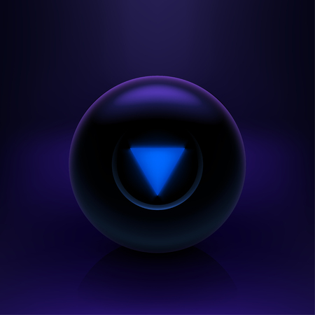 illustration of black color magic ball on dark background with shadow