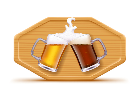illustration of two glasses with beer on brown wood board with shadow on white background Illustration