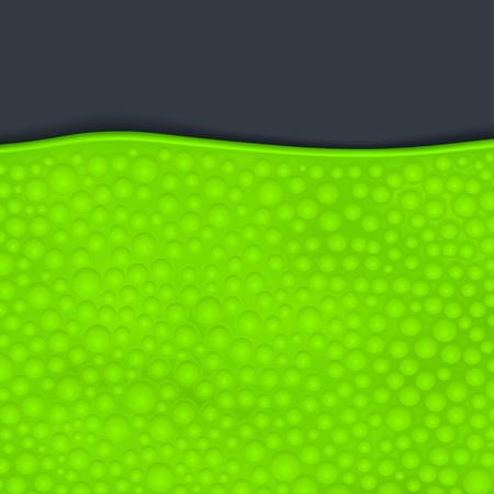 illustration of green color slime with bubbles on dark background Illustration