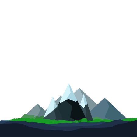 sky sun: illustration of flat mountains with ice on edges with white background