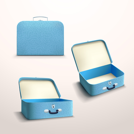 opened bag: illustration of blue skin case set with shadow on bright background