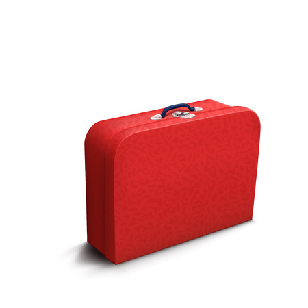 old suitcase: illustration of red skin old suitcase with shadow on white background
