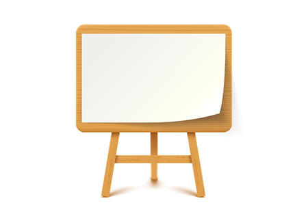 illustration of wooden flip chart with white paper on white background