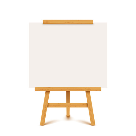 illustration of wooden flip chart with paper white color on white background