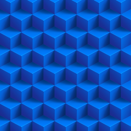 illustration of blue color cubes with shadow background