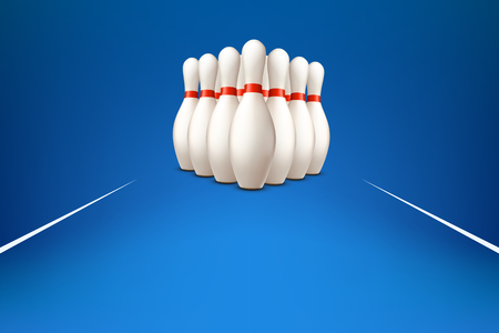 bowling pins on blue