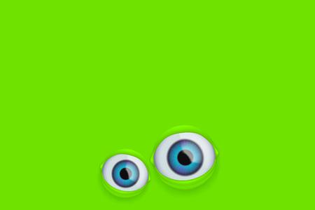 illustration of pair eyes on green background Illustration
