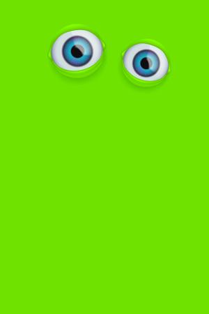Illustration of pair realistic eyes on green layout. Illustration