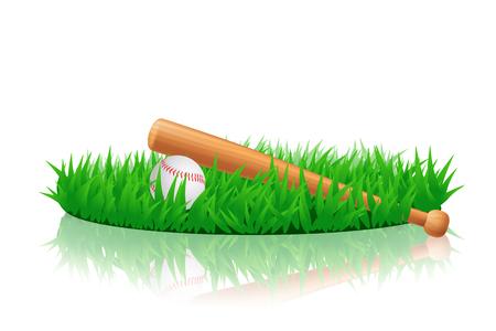 baseball equipment on grass Illustration
