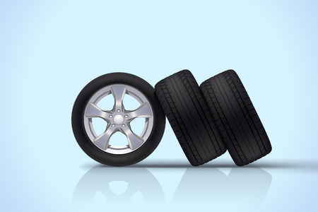 ring road: Car wheels group on blue