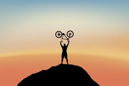 Cycilst on top of mountain