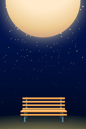 A moon and bench