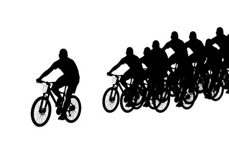 rural road: Cartoon peloton silhouette on white