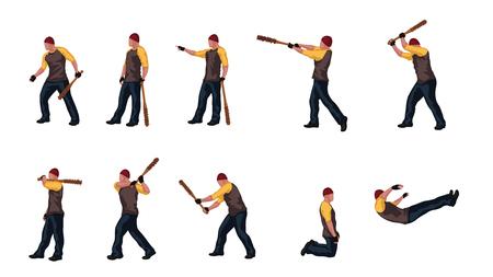man with basebal bat set 03 Ilustracja