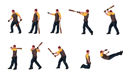 man with basebal bat set 03 Illustration