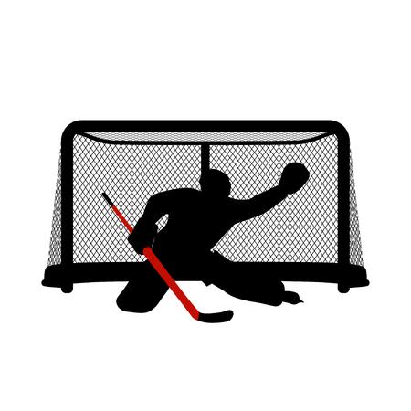 Hockey keeper silhouet Vector Illustratie