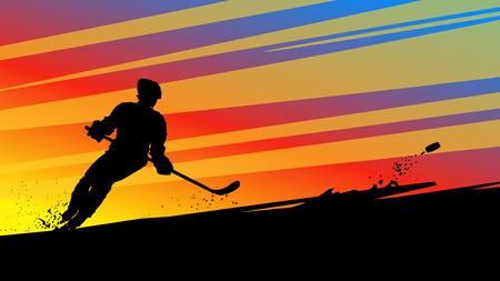 hockey silhouette on bright Illustration