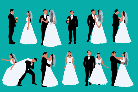 illustration of two colored bride and groom in set of different poses on blue background