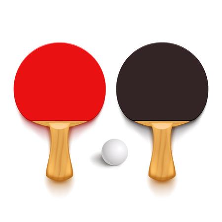 Illustrazione di palle di macinazione di ping pong e palla di legno con ombre incandescente su sfondo bianco