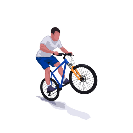 A man riding on bicycle.