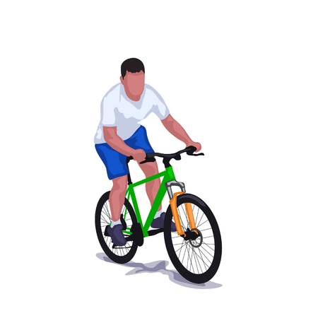 man on bicycle isolated