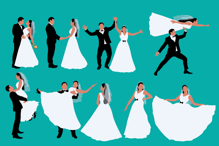 two colored wedding silhouettes